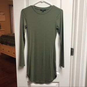 Forever 21 army green long sleeve dress